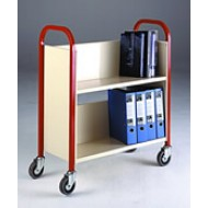 Single Sided Wooden 2 Tier Book Trolley Available in Red, Green, Yellow and Blue Colour Frames