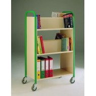 Double Sided Wooden 3 Tier Book Trolley Available in Red, Green, Yellow and Blue Colour Frames