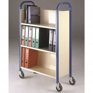 Single Sided Wooden 3 Tier Book Trolley Available in Red, Green, Yellow and Blue Colour Frames