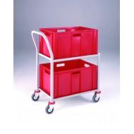 Single 2 Tier Plastic Box Trolley
