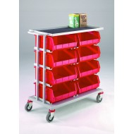Double 4 Tier Plastic Tote Trolley