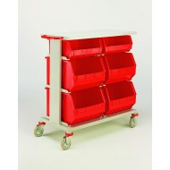 Double 3 Tier Plastic Tote Trolley