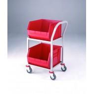 Single 2 Tier Plastic Tote Trolley