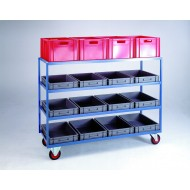 Large 4 Tier Container Shelf Trolley