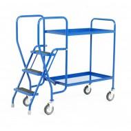 3 Step Tray Trolley Medium Duty 2 Tiers Fixed Blue Trays