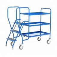 3 Step Tray Trolley Medium Duty 3 Tiers Fixed Blue Trays