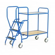 3 Step Tray Trolley Medium Duty 2 Tiers Fixed Plywood Shelves
