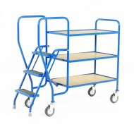 3 Step Tray Trolley Medium Duty 3 Tiers Fixed Plywood Shelves