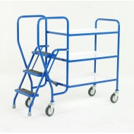 3 Step Tray Trolley Medium Duty 3 Tiers Reversible White Trays
