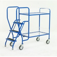 3 Step Tray Trolley Medium Duty 2 Tiers Removable Baskets
