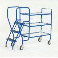 3 Step Tray Trolley Medium Duty 3 Tiers Removable Baskets