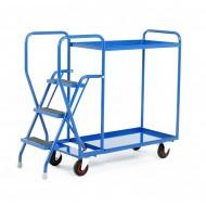 3 Step Tray Trolley Heavy Duty 2 Tiers Fixed Blue Trays