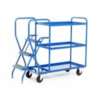 3 Step Tray Trolley Heavy Duty 3 Tiers Fixed Blue Trays
