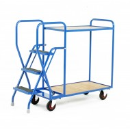 3 Step Tray Trolley Heavy Duty 2 Tiers Fixed Plywood Shelves