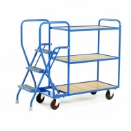 3 Step Tray Trolley Heavy Duty 3 Tiers Fixed Plywood Shelves