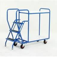 3 Step Tray Trolley Heavy Duty 2 Tiers Reversible White Trays