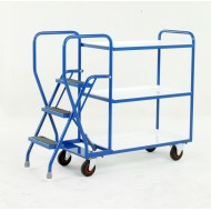 3 Step Tray Trolley Heavy Duty 3 Tiers Reversible White Trays