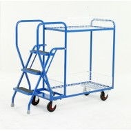 3 Step Tray Trolley Heavy Duty 2 Tiers Removable Baskets