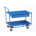 Workshop Trolley with Top & Bottom Steel Shelves & Steel Drawer
