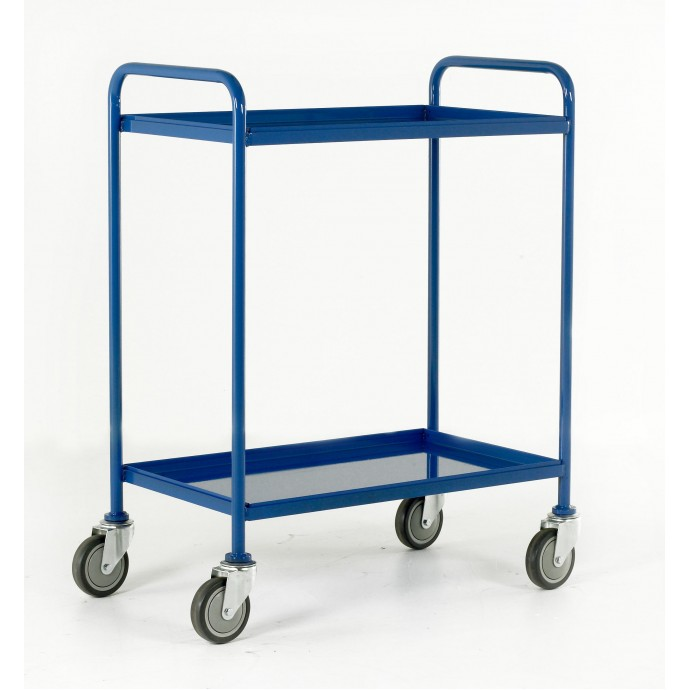 2 Tray TrolleyTray Size 760mm x 457mm Blue Epoxy